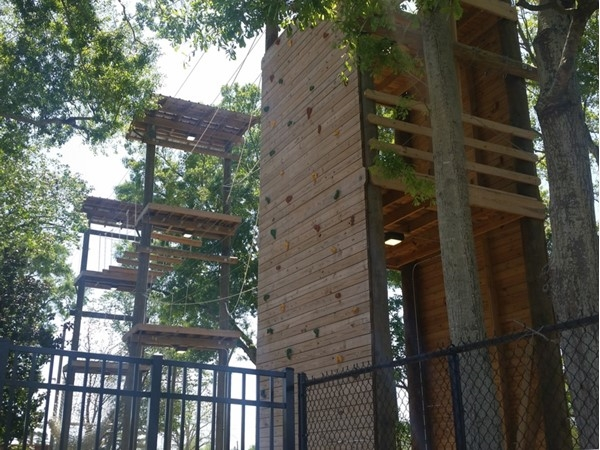 Rock wall and obstacle course on LSU campus near the recreation center