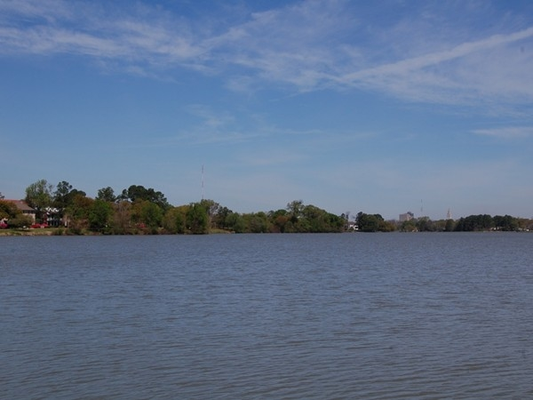 A beautiful day at LSU Lake - the State Capital building is in the far distance