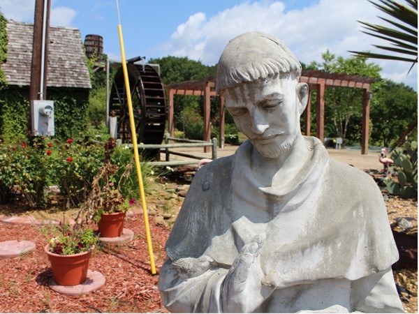 The Thomas Nursery & Feed Pavilion features beautiful views and unique statues