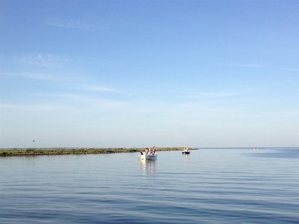 A perfect flat, calm water day to go fishing in Barataria Bay