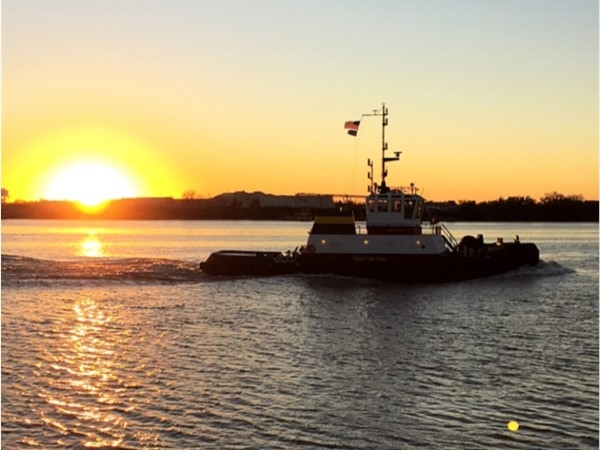 Mississippi River Tug Boat and sunset behind the Audubon Zoo ~ Uptown, New Orleans