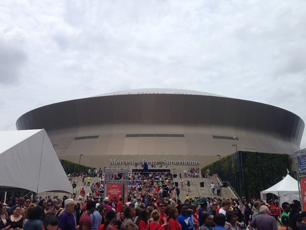 View of Mercedes-Benz Superdome, from Champions Square, during the World's Largest Crawfish Boil