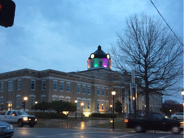 Bastrop's Courthouse, built in 1914, stands beautifully illuminated in the evening