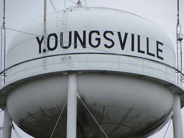 Youngsville water tower overlooking Louisiana's fastest growing city