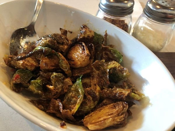 Rocca's take on brussel sprouts! Their pizza is fantastic too