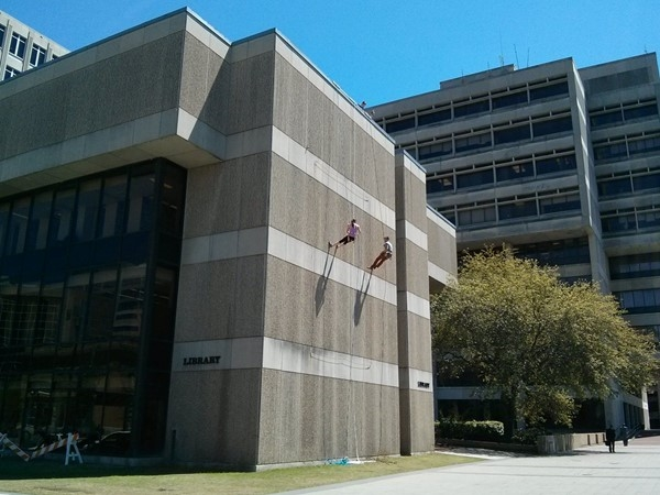 Repelling down the library wall! Lots of action in downtown Baton Rouge