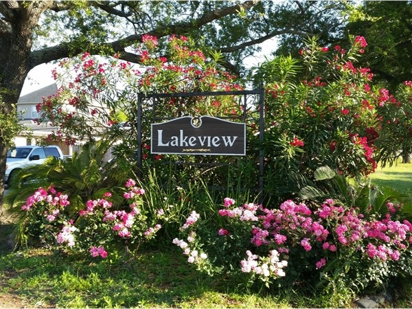 Lakeview signs and landscaping appear at several key intersections in the neighborhood