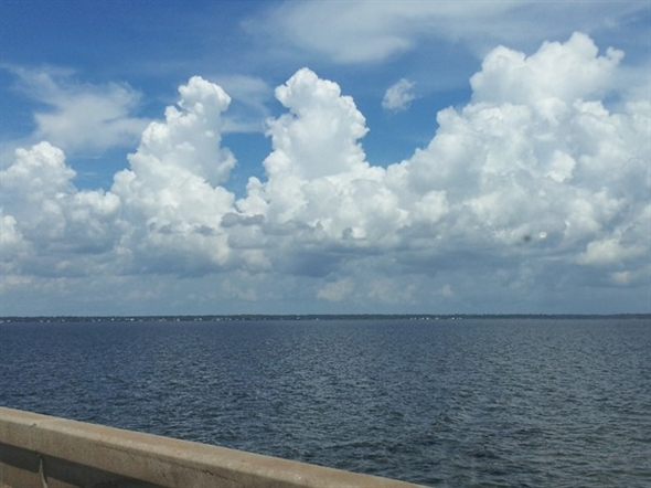 Northshore bound! Beautiful Old Mandeville from the Causeway Bridge