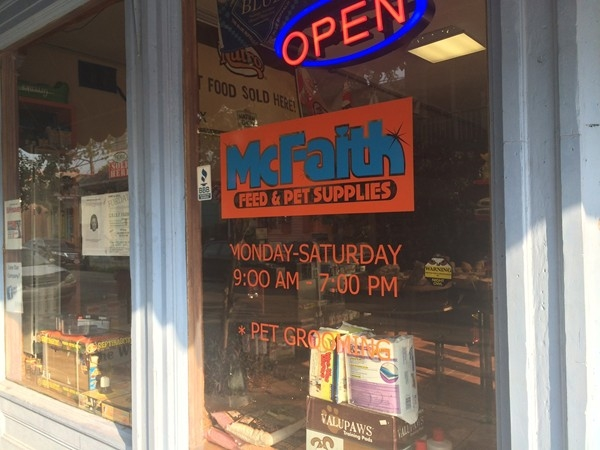 McFaith Pet Supplies on the corner of Burgundy and Spain