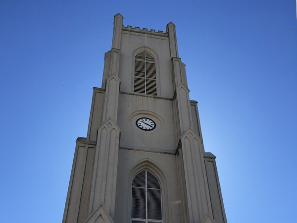ST. Patricks Church. A historic gothic-style catholic church with a 185 ft. bell tower