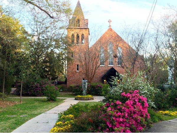 Christ Episcopal Church in downtown Covington with the springtime flowers in bloom. So picturesque!