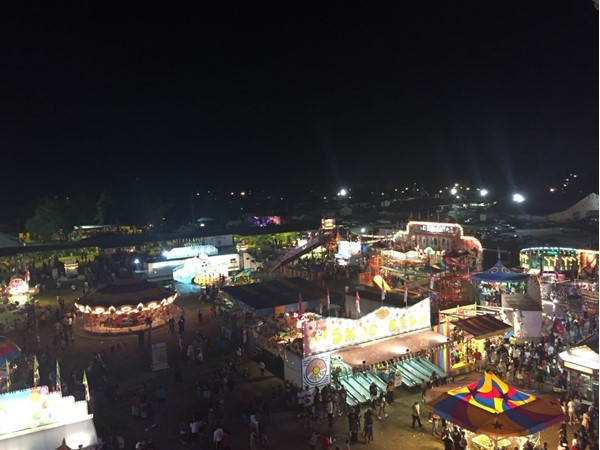 Aerial view of the yearly Firemans Fair - great food, music, rides, and fun for the entire family