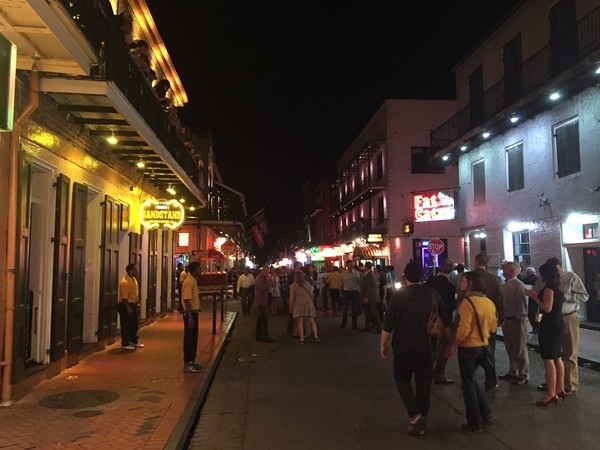 The infamous Bourbon Street on a Wednesday night