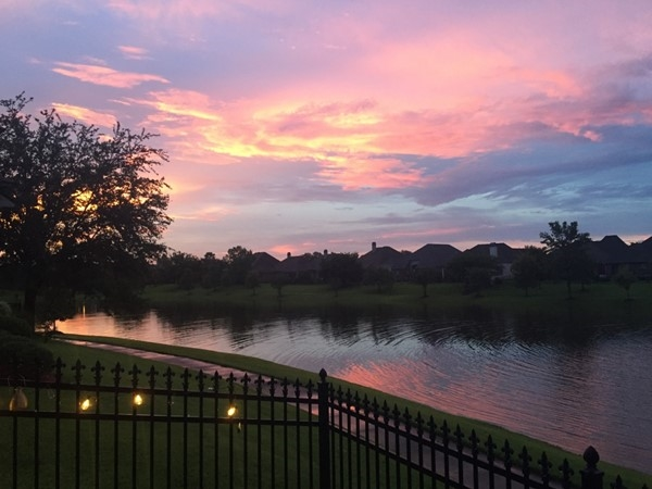 Stunning sunset over the lake