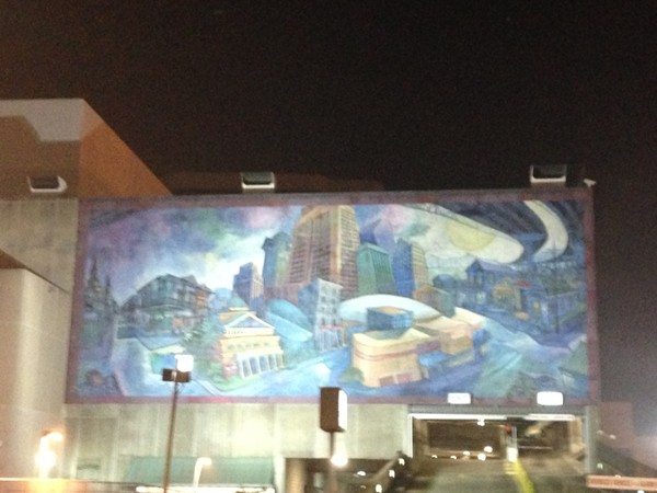 Beautiful mural located on Convention Center Boulevard at the Hilton Hotel Cityscape