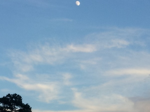 Northshore peaceful peachy-moon evening in Old Mandeville