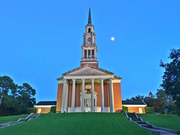 First Baptist Church at nightfall
