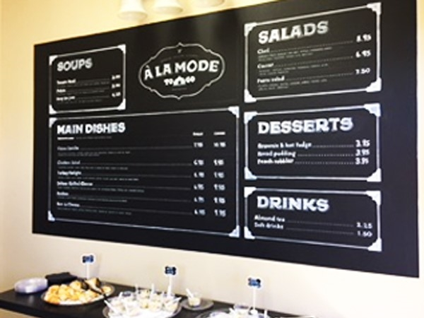 "A La Mode is a ""to-go"" style restaurant offering a daily menu of delicious, fresh soups/ sandwiches"