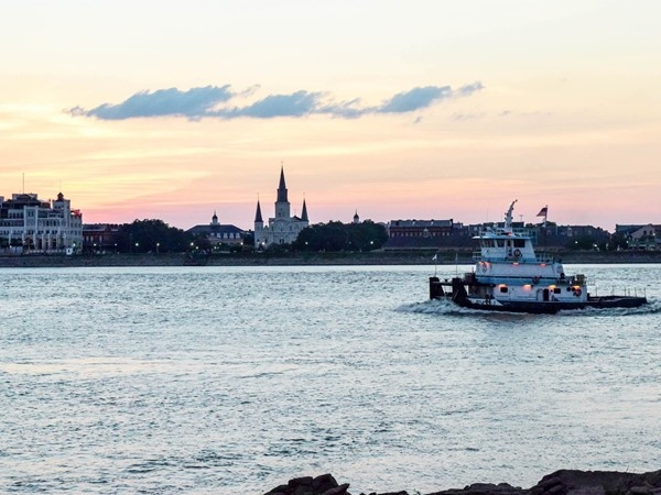 View of Jackson Square and the Quarter from Algiers Point during a stunning sunset