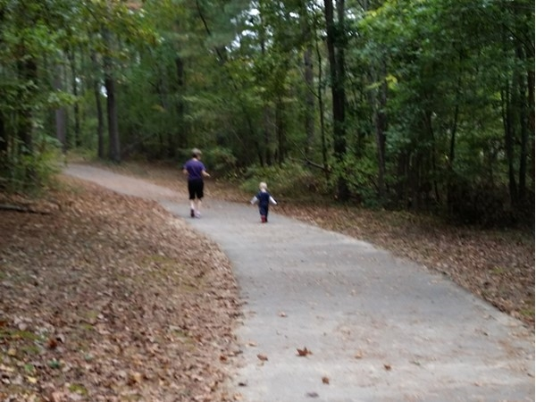 It's a great day for a jog along the trails at Mills Park in Bryant