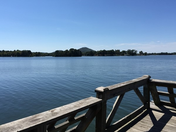View from the pier at the Fish Hatcher in Hot Springs.  Mt. Riante is in the distance