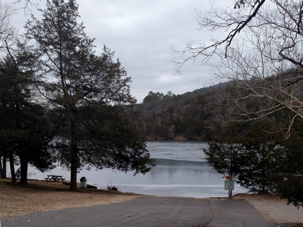 Winter view of the beautiful Leatherwood Lake Loop Trail