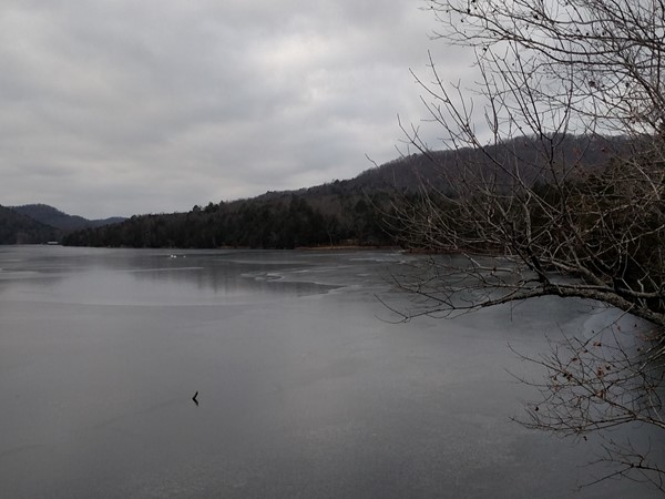 Cloudy and cold morning hike along Leatherwood Lake Loop Trail in Eureka Springs
