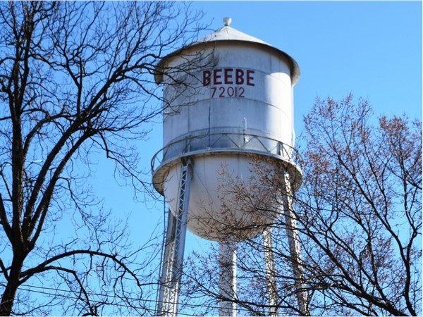 Beebe water tower overlooking the city's downtown area