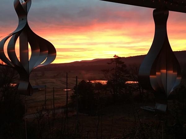 Morning sunrise on Christmas decorations