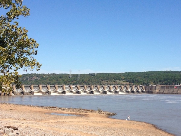 See the guy fishing? Arkansas River Dam located between Dardanelle and Russellville