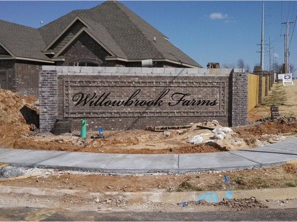 New and upcoming Willowbrook Farms in southwest Bentonville off Shell Road
