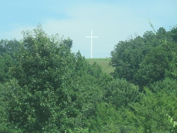 If you're on I-40 East entering into Ozark, this cross welcomes you to the community