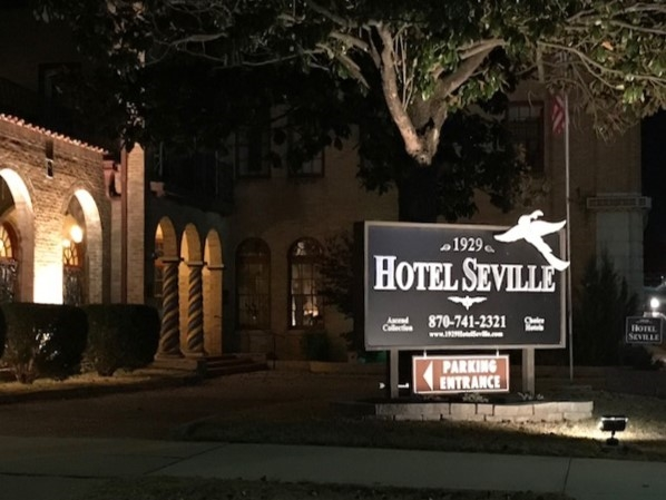 The night glow of the historic 1929 Hotel Seville