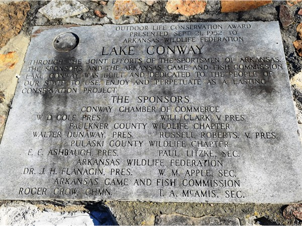 Lake Conway received the Outdoor Life Conservation Award back in 1952