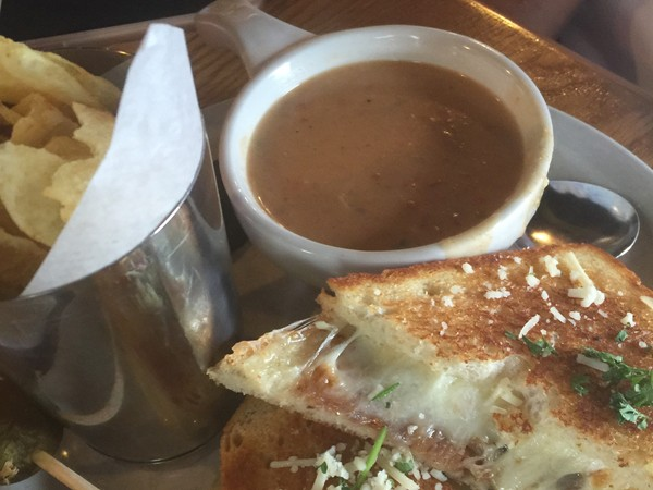 Crawfish bisque and grilled cheese at the best sandwich joint on Dickson Street