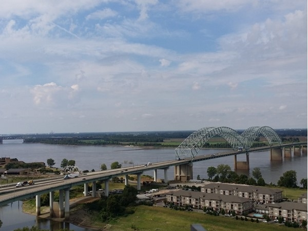 The bridge that crosses from Arkansas into Tennessee. Taken at Bass Pro Pyramid in Memphis