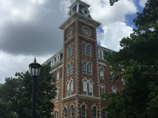 The Old Main building at the University of Arkansas. Fayateville is a beautiful college town