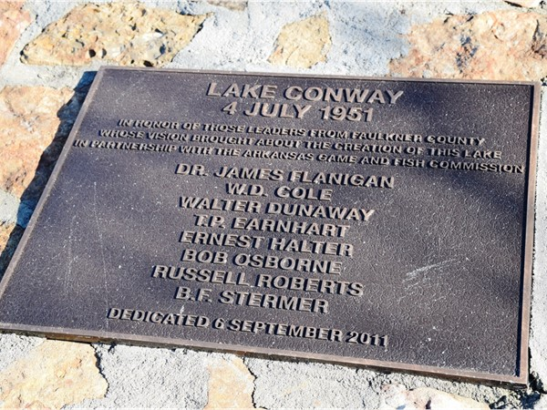 A dedication monument near the Conway Dam - The lake was created in 1951