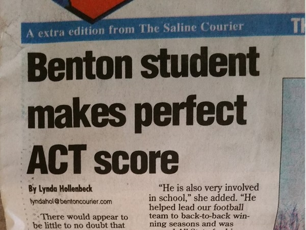 Happy for this student and the Benton Schools that helped him achieve a perfect ACT score