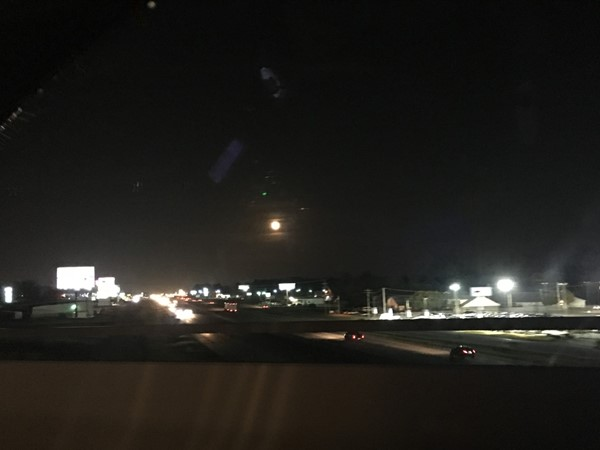 Full moon over Interstate 30 from Benton to Bryant