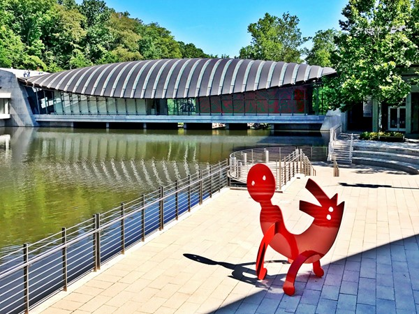 Crystal Bridges Museum pool and art