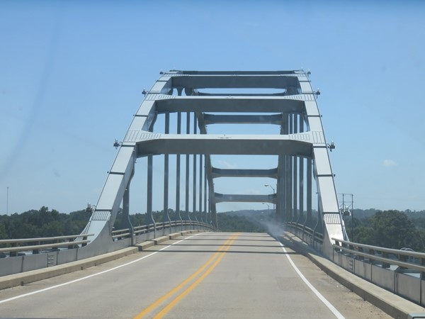 Crossing the Arkansas River bridge in Ozark