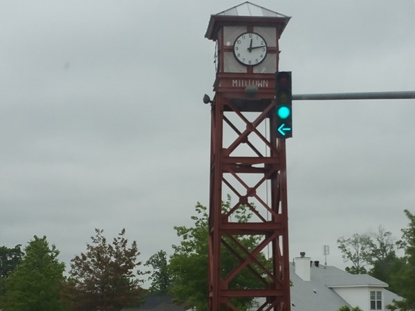 The clock at Midtown is the perfect entrance for sought after Forest Cove neighborhood in Bryant