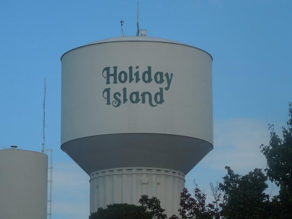 View of Holiday Island water tower from Highway 23