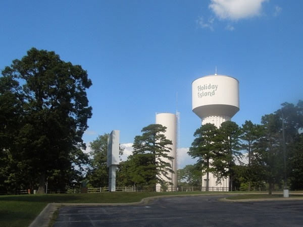 View of water tower across parking lot at Mercy Clinic