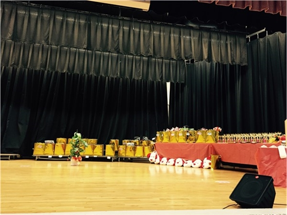 Getting ready for the Hearts of Gold Pageant at Lamar High School