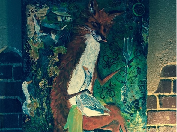 "Love this artwork by Sue Kinsey, local artist.  Painted for ""The Fox & Fork"" restaurant"