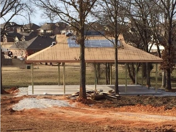 The pavilion by the lake in Centerton is going up! This will be perfect this summer for families