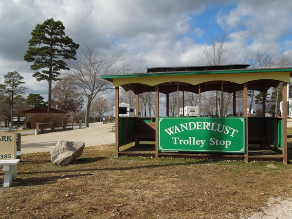 Trolley Stop at Wanderlust RV Park on Passion Play Road, Eureka Springs