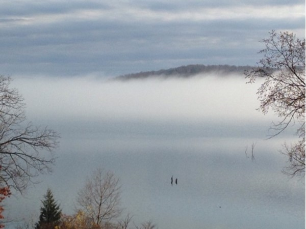 Beautiful view of a foggy moment at Beaver Lake in Benton County